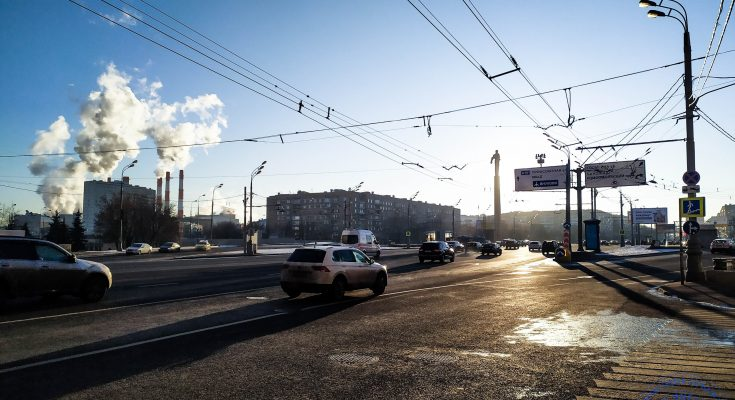 Зимний закат на площади Гагарина